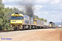 NR96 and NR116 on 1MP5 freighter seen here powering though Bolviar (SA) for Perth on the 11th November 2013