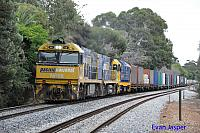 NR68, NR90 and 8114 on 2PM6 freighter seen here powering though Hawthorn (SA) on the 9th April 2015