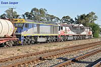 SCT001, SCT005 and EL58 on 2MP9 SCT freighter seen here heading though Unley Park (SA) on the 12th November 2013