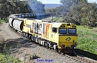 ACN4143 on 4873 Alumina train seen here powering though South Pinjarra for Bunbury on the 17th July 2019