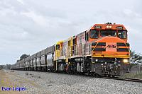 DBZ2313 and DBZ2309 on 7556 loaded coal train seen here powering though Pinjarra South for Kwinana on the 30th August 2014