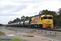 P2504 on 7223 Alumina train sits in the loop at Keysbrook to do a cross before continuing to Calcine Pinjarra on the 30th August 2014