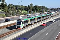 Transperths B set 114 on a Perth bound service seen here at South Perth on the 21st January 2017