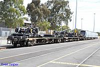 B set 99 waiting to be transffered to Midland Flashbutt for bogie exchange is seen here at Perth Freight Terminal Perth on the 3rd April 2014