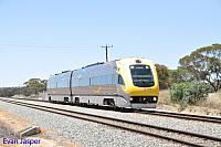 WDB011 WDA001 on 7484 Prospector service seen here rolling though Meckering for East Perth on the 1st November 2014