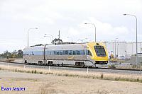 WDB011 WDA001 on 1086 empty Prospector service seen here departing Kewdale for East Perth on the 26th September 2014