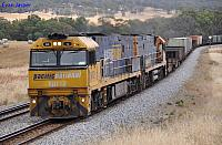 NR12 and NR114 on 1PM7 freighter at Toodyay on the 27th November 2011