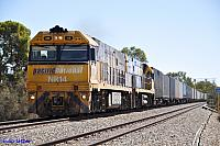 NR14 and NR121 on 1PM7 freighter at Northam on the 3rd April 2011