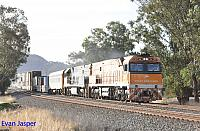 NR31 and NR10 on 1PM5 freighter seen here powering though Katrine (Between Toodyay and Northam)