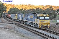 NR90 and NR52 on 5MP2 loaded steel train seen here heading though Lloyd Crossing (Near Toodyay) on the 7th July 2019