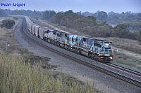 CBH118, CBH120 and VL357 on 1S55 empty CBH grain train seen here heading though Wattle Grove on the 16th June 2019