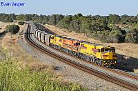 DBZ2305, DBZ2302 and DBZ2301 on 1K03 empty CBH grain train seen here heading though Wattle Grove on the 5th January 2020