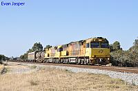 6029 and 6028 work the last Aurizon Intermodel service (Train Number 3MP1 freighter seen here powering though Hazelmere on the 28th December 2017