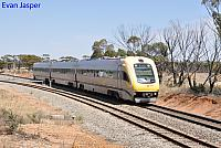 WDA003/WDC021/WDB013 on 4085 Transwa Prospector service seen here heading though Merredin on the 10th January 2018